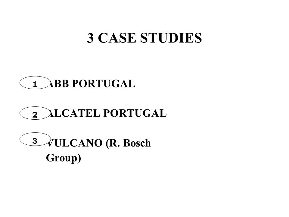 3 CASE STUDIES ABB PORTUGAL ALCATEL PORTUGAL VULCANO (R. Bosch Group) 1 2 3