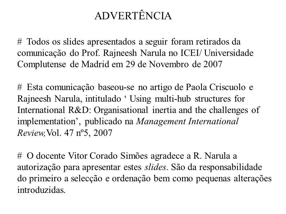 ADVERTÊNCIA # Todos os slides apresentados a seguir foram retirados da comunicação do Prof.