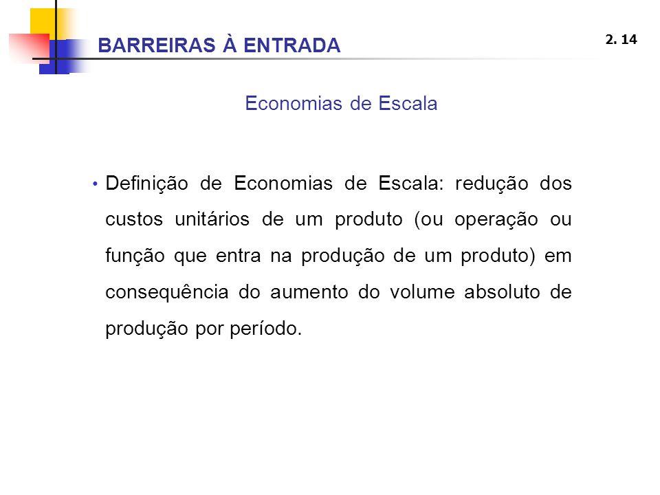2. 14 Economias de Escala Definição de Economias de Escala: redução dos custos unitários de um produto (ou operação ou função que entra na produção de