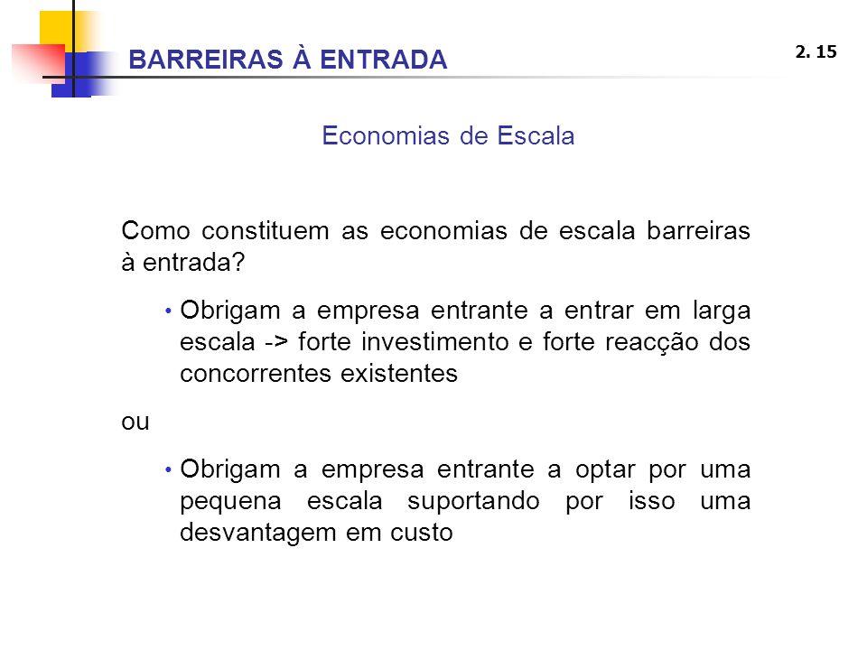 2. 15 Economias de Escala Como constituem as economias de escala barreiras à entrada? Obrigam a empresa entrante a entrar em larga escala -> forte inv