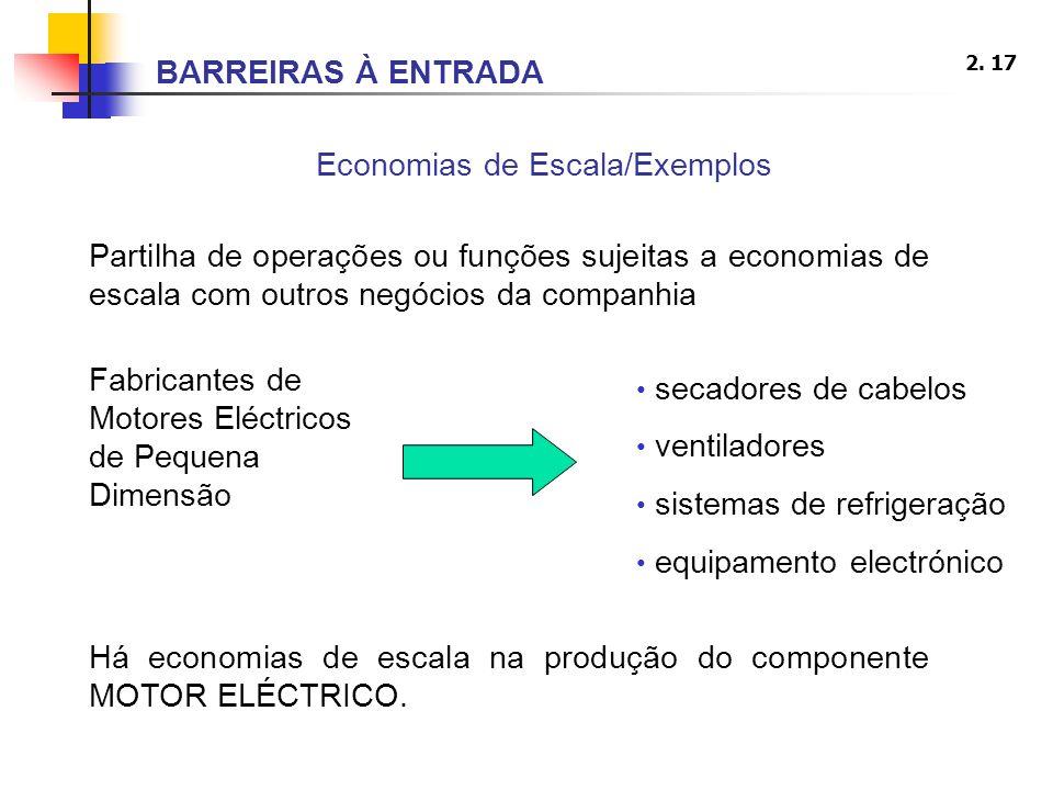 2. 17 Economias de Escala/Exemplos Partilha de operações ou funções sujeitas a economias de escala com outros negócios da companhia Fabricantes de Mot