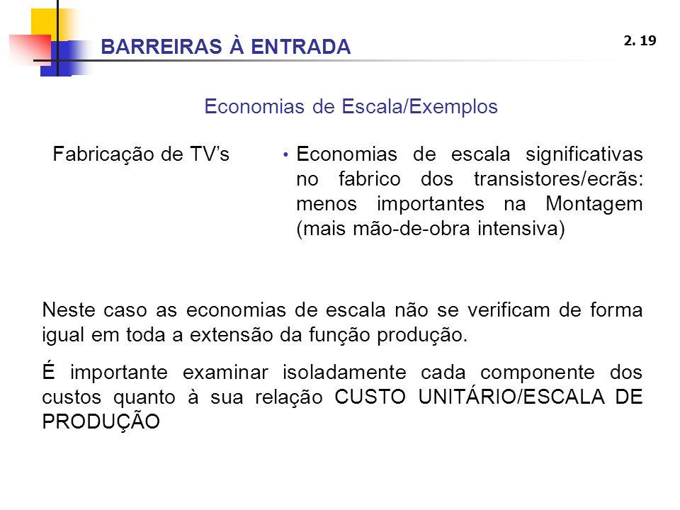 2. 19 Economias de Escala/Exemplos Fabricação de TVs Economias de escala significativas no fabrico dos transistores/ecrãs: menos importantes na Montag