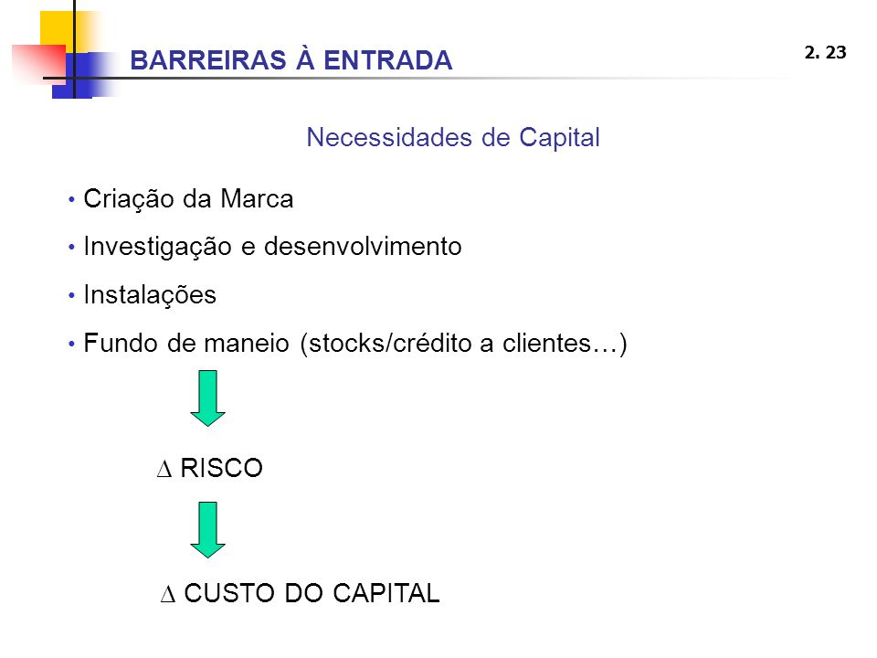 2. 23 Necessidades de Capital Criação da Marca Investigação e desenvolvimento Instalações Fundo de maneio (stocks/crédito a clientes…) RISCO CUSTO DO
