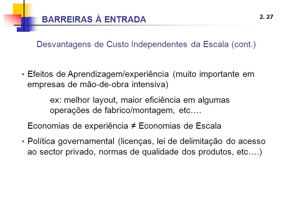 2. 27 Desvantagens de Custo Independentes da Escala (cont.) Efeitos de Aprendizagem/experiência (muito importante em empresas de mão-de-obra intensiva