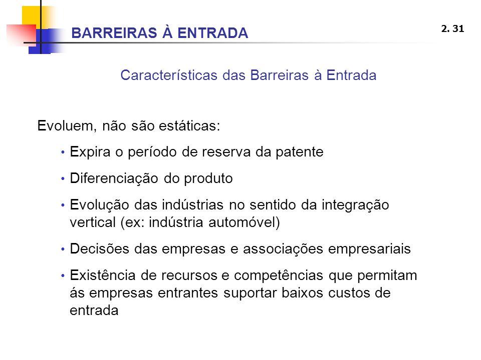 2. 31 Características das Barreiras à Entrada Evoluem, não são estáticas: Expira o período de reserva da patente Diferenciação do produto Evolução das