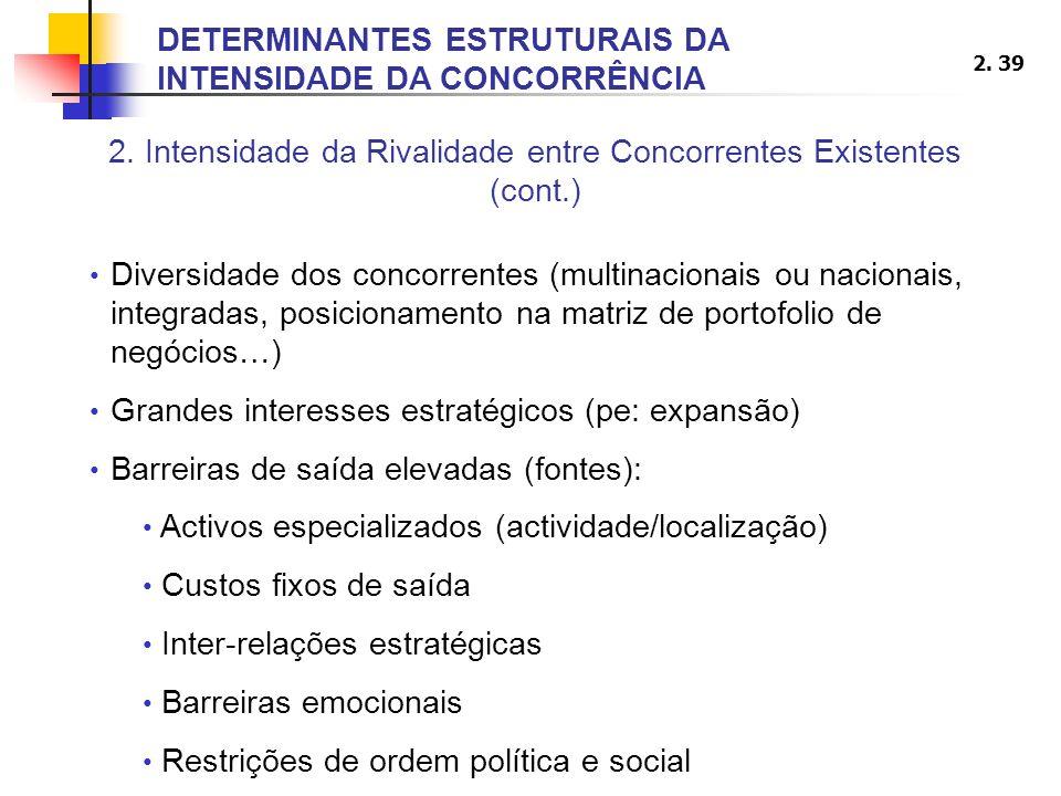 2. 39 2. Intensidade da Rivalidade entre Concorrentes Existentes (cont.) Diversidade dos concorrentes (multinacionais ou nacionais, integradas, posici