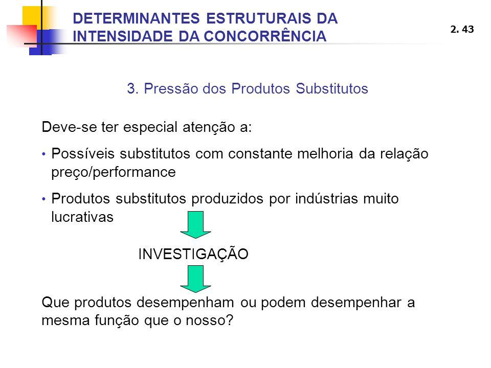 2. 43 3. Pressão dos Produtos Substitutos Deve-se ter especial atenção a: Possíveis substitutos com constante melhoria da relação preço/performance Pr