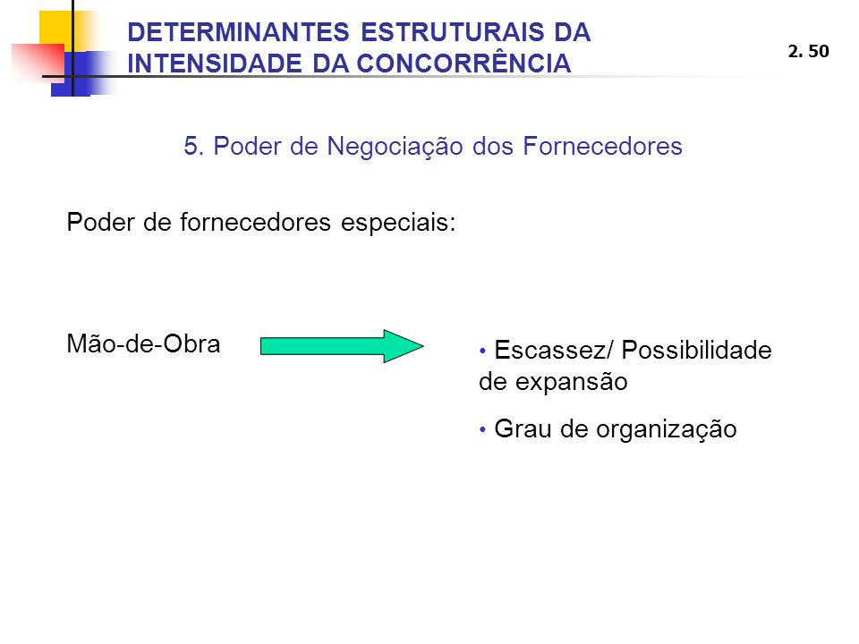 2. 50 5. Poder de Negociação dos Fornecedores Poder de fornecedores especiais: DETERMINANTES ESTRUTURAIS DA INTENSIDADE DA CONCORRÊNCIA Mão-de-Obra Es