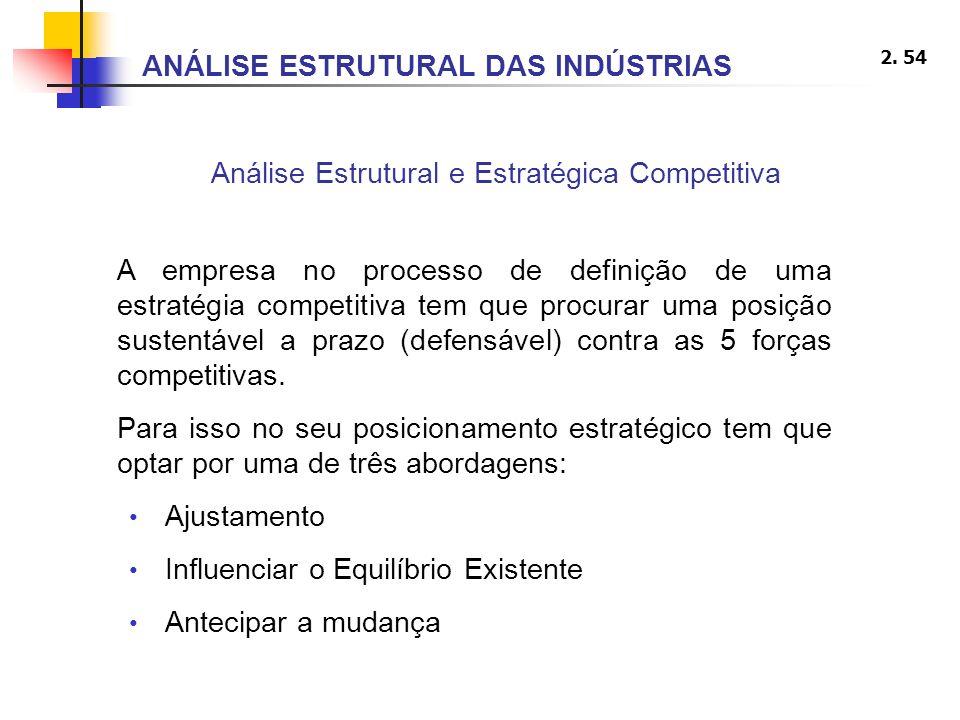 2. 54 Análise Estrutural e Estratégica Competitiva ANÁLISE ESTRUTURAL DAS INDÚSTRIAS A empresa no processo de definição de uma estratégia competitiva