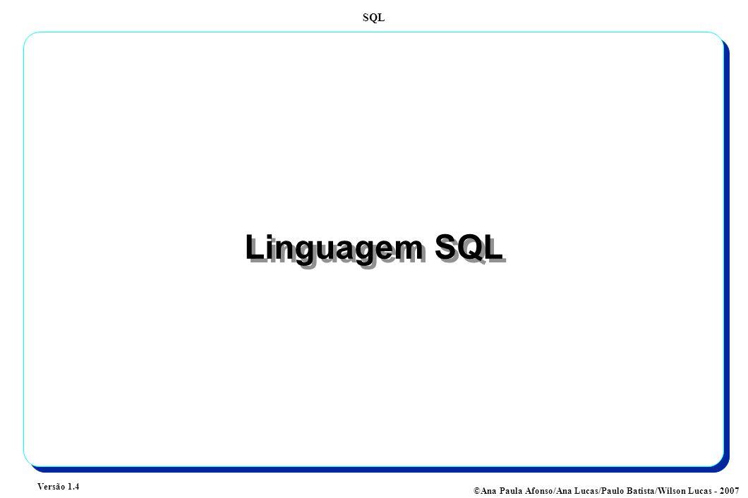 SQL Versão 1.4 ©Ana Paula Afonso/Ana Lucas/Paulo Batista/Wilson Lucas - 2007 Linguagem SQL