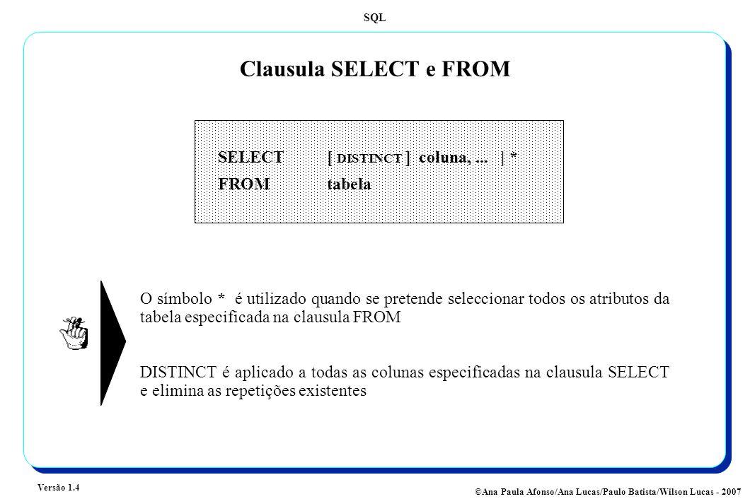 SQL Versão 1.4 ©Ana Paula Afonso/Ana Lucas/Paulo Batista/Wilson Lucas - 2007 Clausula SELECT e FROM SELECT [ DISTINCT ] coluna,... | * FROM tabela O s