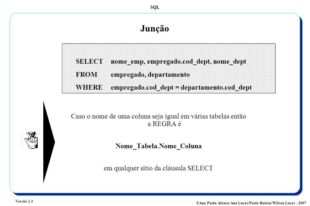 SQL Versão 1.4 ©Ana Paula Afonso/Ana Lucas/Paulo Batista/Wilson Lucas - 2007 Junção SELECT nome_emp, empregado.cod_dept, nome_dept FROMempregado, departamento WHERE empregado.cod_dept = departamento.cod_dept Caso o nome de uma coluna seja igual em várias tabelas então a REGRA é Nome_Tabela.Nome_Coluna em qualquer sítio da cláusula SELECT