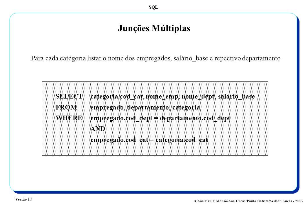 SQL Versão 1.4 ©Ana Paula Afonso/Ana Lucas/Paulo Batista/Wilson Lucas - 2007 Junções Múltiplas SELECT categoria.cod_cat, nome_emp, nome_dept, salario_base FROMempregado, departamento, categoria WHERE empregado.cod_dept = departamento.cod_dept AND empregado.cod_cat = categoria.cod_cat Para cada categoria listar o nome dos empregados, salário_base e repectivo departamento