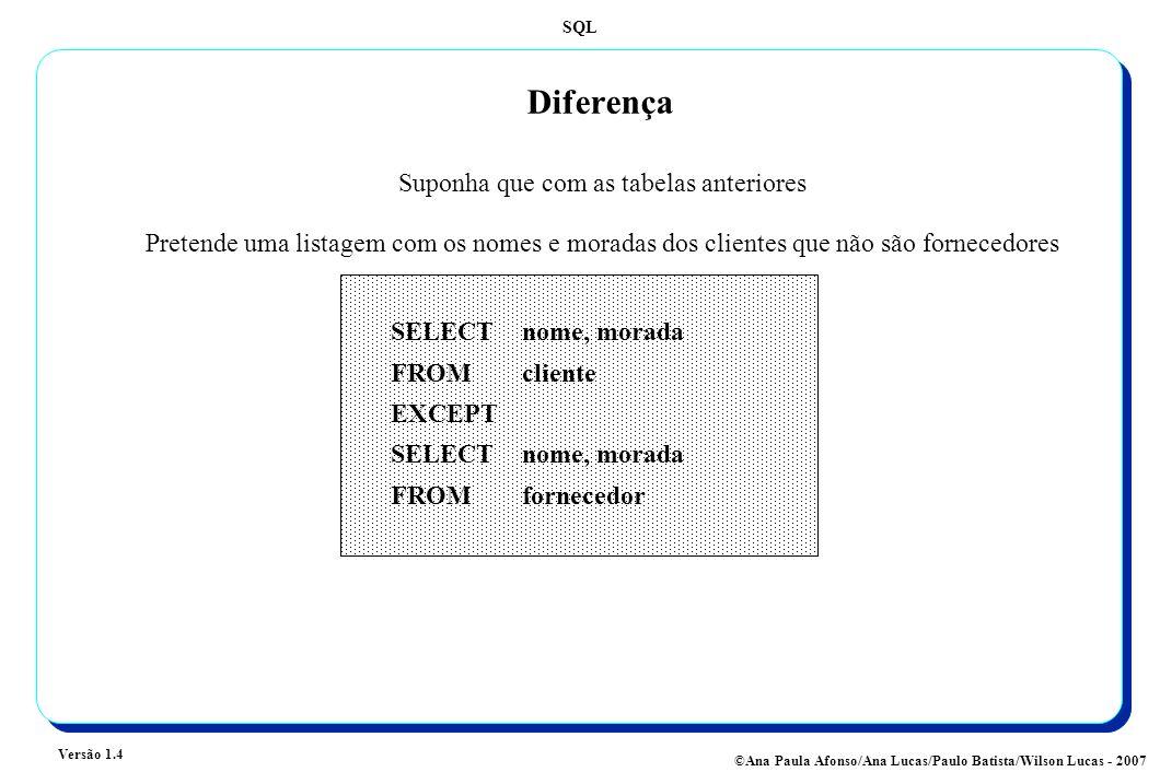 SQL Versão 1.4 ©Ana Paula Afonso/Ana Lucas/Paulo Batista/Wilson Lucas - 2007 Diferença Suponha que com as tabelas anteriores Pretende uma listagem com