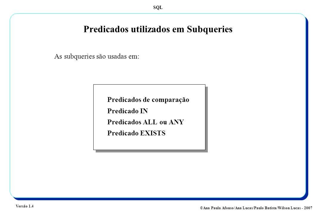 SQL Versão 1.4 ©Ana Paula Afonso/Ana Lucas/Paulo Batista/Wilson Lucas - 2007 Predicados utilizados em Subqueries Predicados de comparação Predicado IN