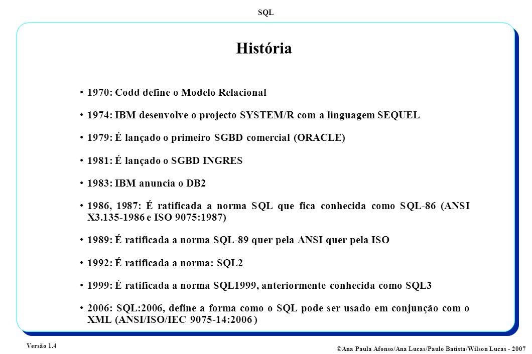 SQL Versão 1.4 ©Ana Paula Afonso/Ana Lucas/Paulo Batista/Wilson Lucas - 2007 História 1970: Codd define o Modelo Relacional 1974: IBM desenvolve o projecto SYSTEM/R com a linguagem SEQUEL 1979: É lançado o primeiro SGBD comercial (ORACLE) 1981: É lançado o SGBD INGRES 1983: IBM anuncia o DB2 1986, 1987: É ratificada a norma SQL que fica conhecida como SQL-86 (ANSI X3.135-1986 e ISO 9075:1987) 1989: É ratificada a norma SQL-89 quer pela ANSI quer pela ISO 1992: É ratificada a norma: SQL2 1999: É ratificada a norma SQL1999, anteriormente conhecida como SQL3 2006: SQL:2006, define a forma como o SQL pode ser usado em conjunção com o XML (ANSI/ISO/IEC 9075-14:2006 )