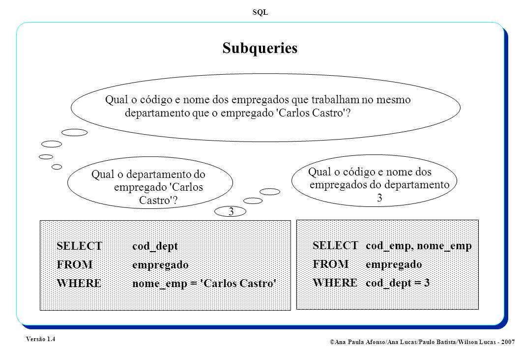 SQL Versão 1.4 ©Ana Paula Afonso/Ana Lucas/Paulo Batista/Wilson Lucas - 2007 Subqueries Qual o código e nome dos empregados que trabalham no mesmo departamento que o empregado Carlos Castro .