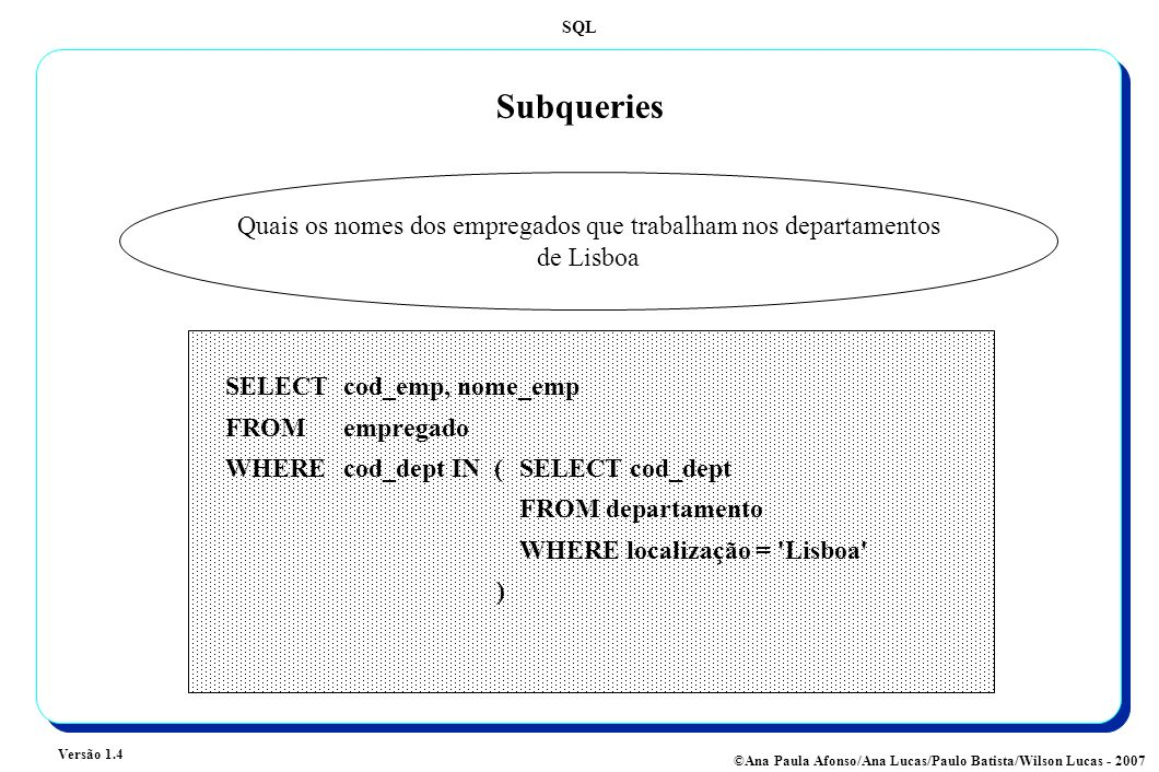 SQL Versão 1.4 ©Ana Paula Afonso/Ana Lucas/Paulo Batista/Wilson Lucas - 2007 Subqueries Quais os empregados cujo salário é superior a todos os salários dos empregados do departamento 1 SELECT nome_emp FROMempregado, categoria WHERE empregado.cod_cat = categoria.cod_cat AND salário_base > ALL (SELECT salário_base FROM empregado, categoria WHERE empregado.cod_cat = categoria.cod_cat AND cod_dept = 1 )