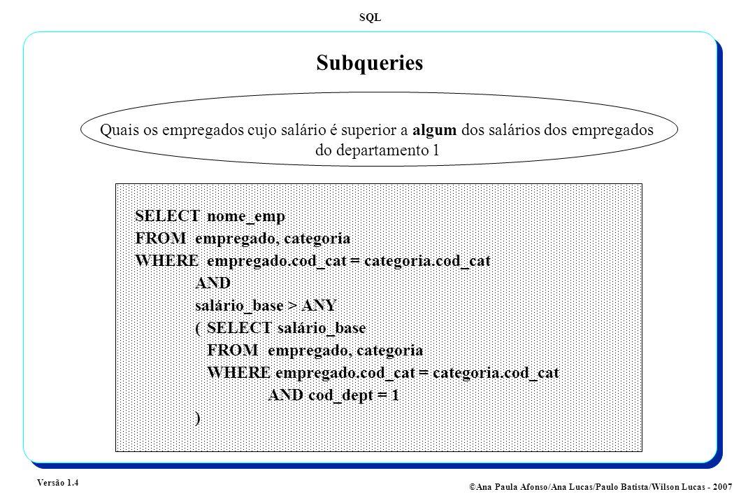 SQL Versão 1.4 ©Ana Paula Afonso/Ana Lucas/Paulo Batista/Wilson Lucas - 2007 Subqueries Quais os empregados cujo salário é superior a algum dos salários dos empregados do departamento 1 SELECT nome_emp FROMempregado, categoria WHERE empregado.cod_cat = categoria.cod_cat AND salário_base > ANY (SELECT salário_base FROM empregado, categoria WHERE empregado.cod_cat = categoria.cod_cat AND cod_dept = 1 )