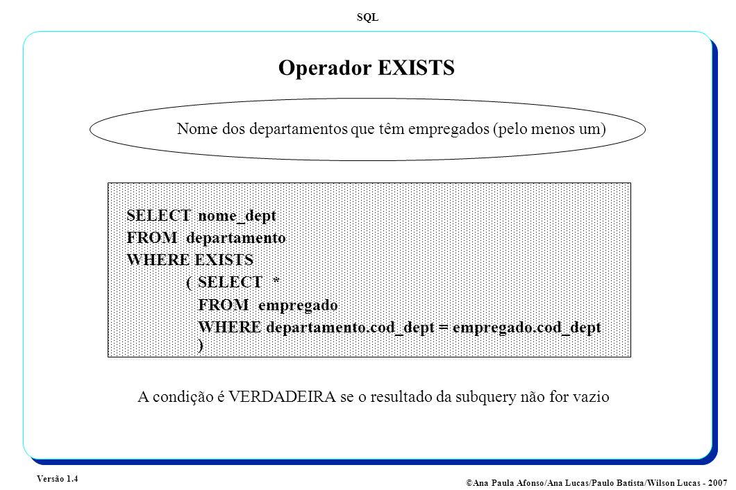 SQL Versão 1.4 ©Ana Paula Afonso/Ana Lucas/Paulo Batista/Wilson Lucas - 2007 Operador EXISTS A condição é VERDADEIRA se o resultado da subquery não for vazio Nome dos departamentos que têm empregados (pelo menos um) SELECT nome_dept FROMdepartamento WHERE EXISTS (SELECT * FROM empregado WHERE departamento.cod_dept = empregado.cod_dept )