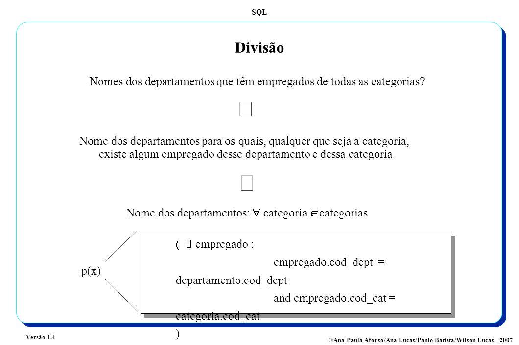 SQL Versão 1.4 ©Ana Paula Afonso/Ana Lucas/Paulo Batista/Wilson Lucas - 2007 Divisão Nomes dos departamentos que têm empregados de todas as categorias.