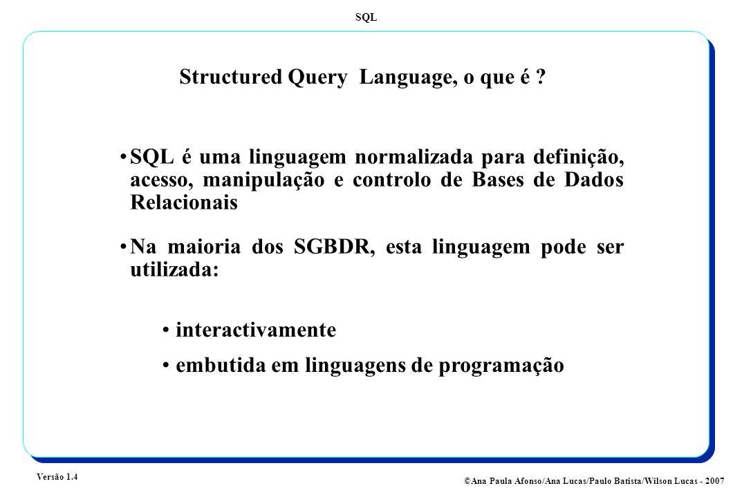 SQL Versão 1.4 ©Ana Paula Afonso/Ana Lucas/Paulo Batista/Wilson Lucas - 2007 Structured Query Language, o que é ? SQL é uma linguagem normalizada para