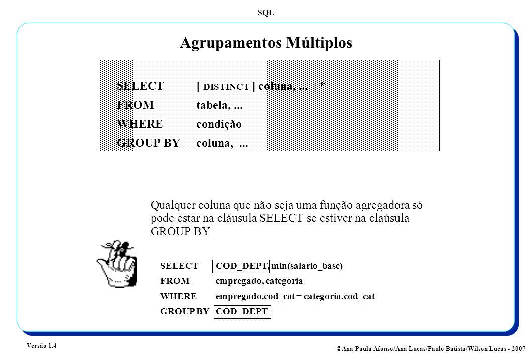 SQL Versão 1.4 ©Ana Paula Afonso/Ana Lucas/Paulo Batista/Wilson Lucas - 2007 Agrupamentos Múltiplos Qualquer coluna que não seja uma função agregadora só pode estar na cláusula SELECT se estiver na claúsula GROUP BY SELECT COD_DEPT, min(salario_base) FROMempregado, categoria WHEREempregado.cod_cat = categoria.cod_cat GROUP BYCOD_DEPT SELECT [ DISTINCT ] coluna,...