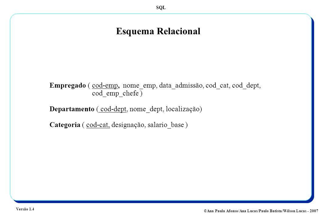 SQL Versão 1.4 ©Ana Paula Afonso/Ana Lucas/Paulo Batista/Wilson Lucas - 2007 Esquema Relacional Empregado (cod-emp, nome_emp, data_admissão, cod_cat, cod_dept, cod_emp_chefe ) Departamento ( cod-dept, nome_dept, localização) Categoria ( cod-cat, designação, salario_base )