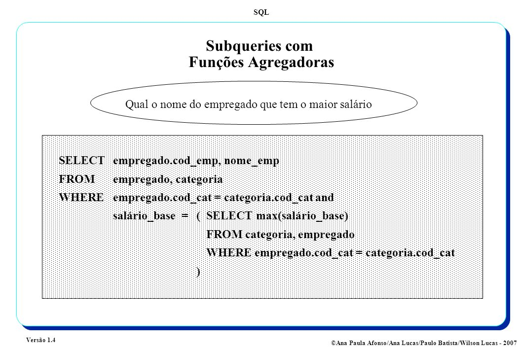 SQL Versão 1.4 ©Ana Paula Afonso/Ana Lucas/Paulo Batista/Wilson Lucas - 2007 Subqueries com Agrupamentos Para cada departamento qual o empregado que tem o maior salário SELECTcod_dept, cod_emp, nome_emp FROM empregado, categoria WHERE empregado.cod_cat = categoria.cod_cat and (cod_dept, sal ário_base) IN (SELECT cod_dept, max(salário_base) FROM categoria, empregado WHERE empregado.cod_cat = categoria.cod_cat GROUP BY cod_dept )