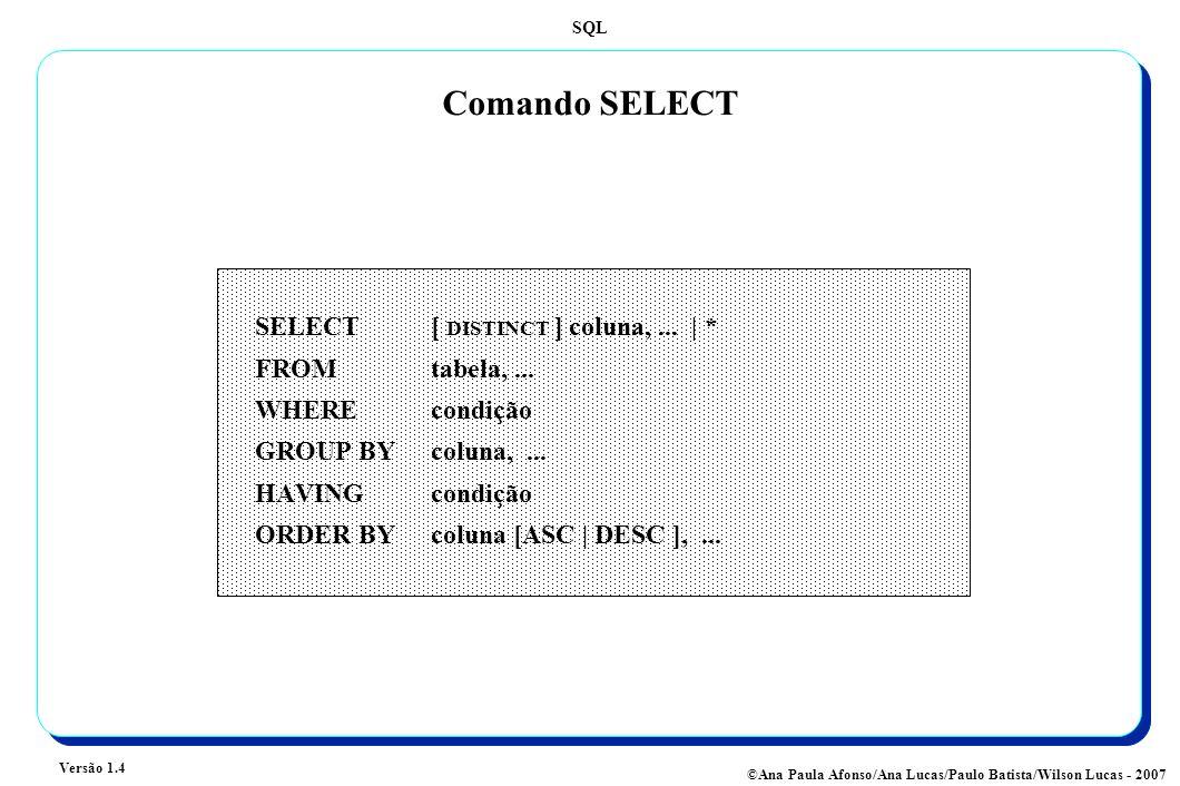 SQL Versão 1.4 ©Ana Paula Afonso/Ana Lucas/Paulo Batista/Wilson Lucas - 2007 Comando SELECT SELECT [ DISTINCT ] coluna,... | * FROM tabela,... WHERE c