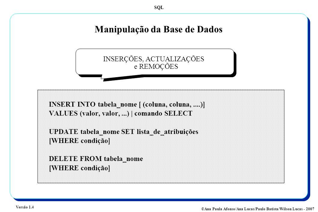 SQL Versão 1.4 ©Ana Paula Afonso/Ana Lucas/Paulo Batista/Wilson Lucas - 2007 Manipulação da Base de Dados INSERÇÕES, ACTUALIZAÇÕES e REMOÇÕES INSERT INTO tabela_nome [ (coluna, coluna,....)] VALUES (valor, valor,...) | comando SELECT UPDATE tabela_nome SET lista_de_atribuições [WHERE condição] DELETE FROM tabela_nome [WHERE condição]