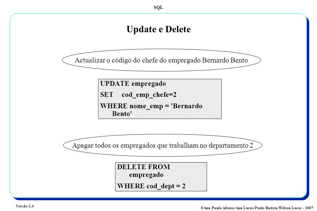 SQL Versão 1.4 ©Ana Paula Afonso/Ana Lucas/Paulo Batista/Wilson Lucas - 2007 Update e Delete UPDATE empregado SET cod_emp_chefe=2 WHERE nome_emp = 'Be