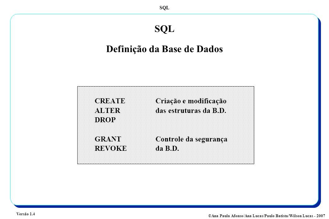 SQL Versão 1.4 ©Ana Paula Afonso/Ana Lucas/Paulo Batista/Wilson Lucas - 2007 SQL Definição da Base de Dados CREATE Criação e modificação ALTERdas estruturas da B.D.