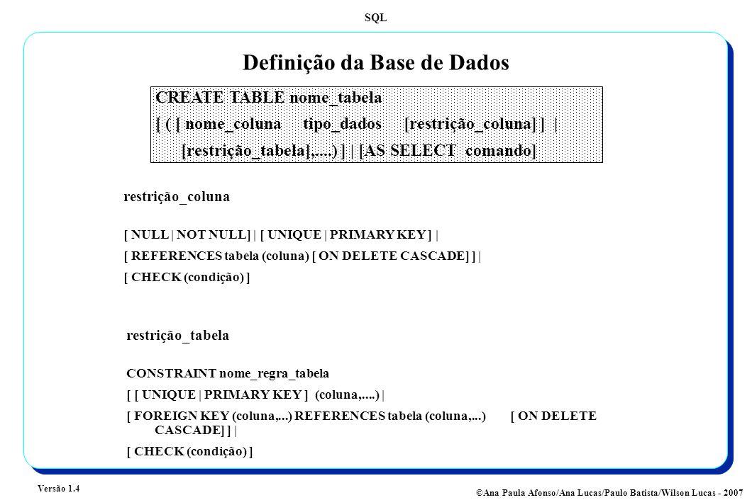 SQL Versão 1.4 ©Ana Paula Afonso/Ana Lucas/Paulo Batista/Wilson Lucas - 2007 Definição da Base de Dados CREATE TABLE nome_tabela [ ( [ nome_coluna tipo_dados [restrição_coluna] ] | [restrição_tabela],....) ] | [AS SELECT comando] restrição_coluna [ NULL | NOT NULL] | [ UNIQUE | PRIMARY KEY ] | [ REFERENCES tabela (coluna) [ ON DELETE CASCADE] ] | [ CHECK (condição) ] restrição_tabela CONSTRAINT nome_regra_tabela [ [ UNIQUE | PRIMARY KEY ] (coluna,....) | [ FOREIGN KEY (coluna,...) REFERENCES tabela (coluna,...) [ ON DELETE CASCADE] ] | [ CHECK (condição) ]