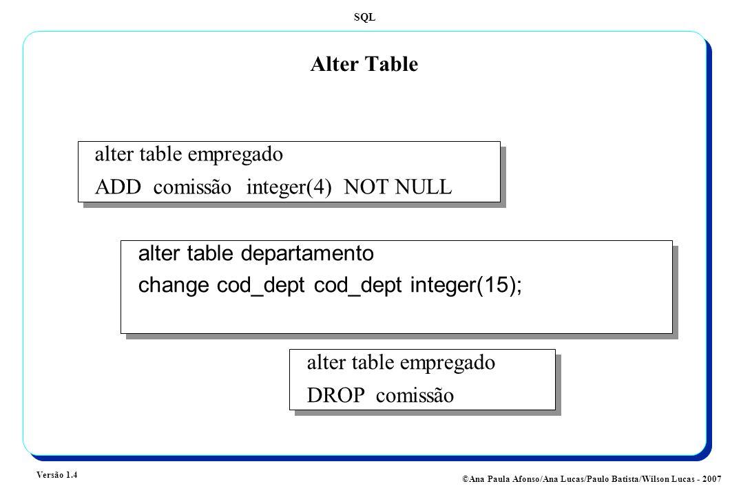 SQL Versão 1.4 ©Ana Paula Afonso/Ana Lucas/Paulo Batista/Wilson Lucas - 2007 Alter Table alter table departamento change cod_dept cod_dept integer(15); alter table departamento change cod_dept cod_dept integer(15); alter table empregado DROP comissão alter table empregado DROP comissão alter table empregado ADD comissão integer(4) NOT NULL alter table empregado ADD comissão integer(4) NOT NULL