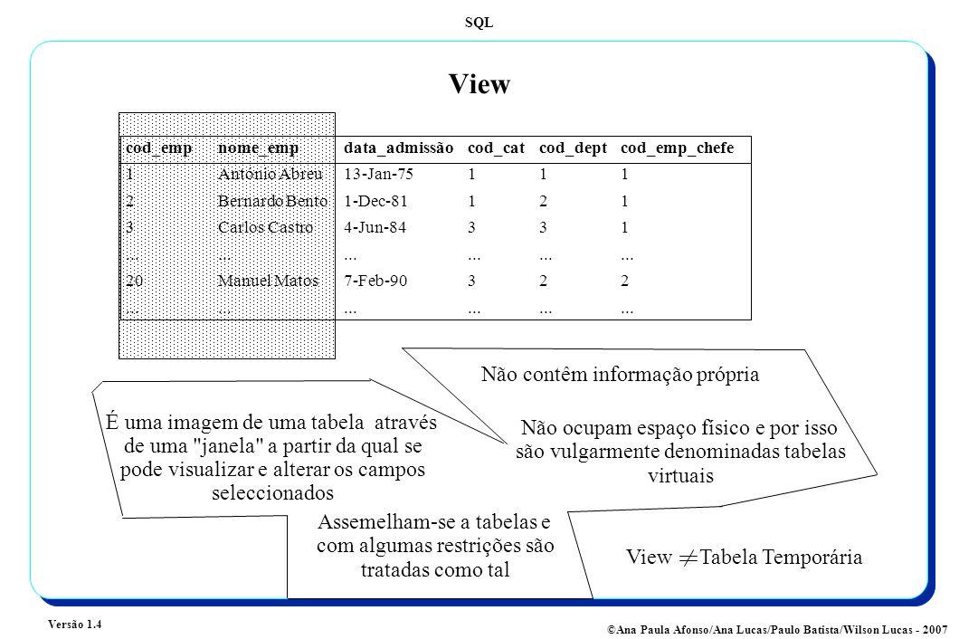 SQL Versão 1.4 ©Ana Paula Afonso/Ana Lucas/Paulo Batista/Wilson Lucas - 2007 View cod_empnome_empdata_admissãocod_catcod_deptcod_emp_chefe 1António Abreu13-Jan-75111 2Bernardo Bento1-Dec-81121 3Carlos Castro4-Jun-84331..................