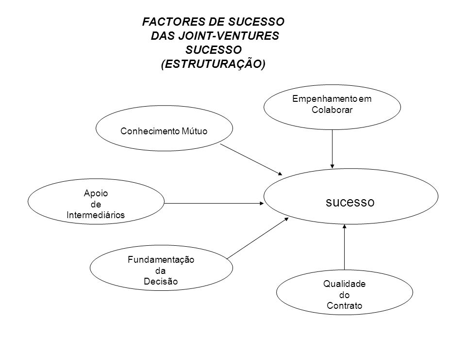 sucesso Empenhamento em Colaborar Fundamentação da Decisão Qualidade do Contrato Apoio de Intermediários Conhecimento Mútuo FACTORES DE SUCESSO DAS JO