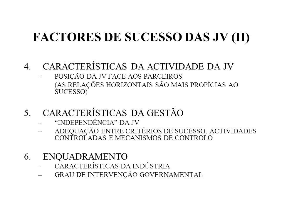 FACTORES DE SUCESSO DAS JV (II) 4.CARACTERÍSTICAS DA ACTIVIDADE DA JV –POSIÇÃO DA JV FACE AOS PARCEIROS (AS RELAÇÕES HORIZONTAIS SÃO MAIS PROPÍCIAS AO