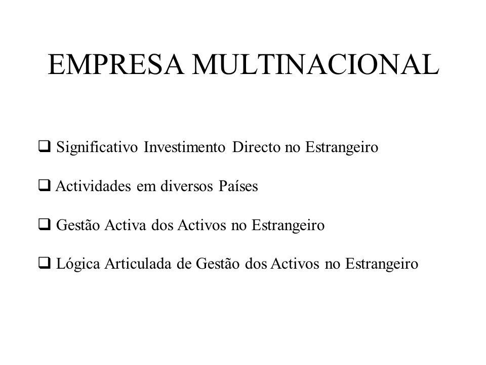 EMPRESA MULTINACIONAL Significativo Investimento Directo no Estrangeiro Actividades em diversos Países Gestão Activa dos Activos no Estrangeiro Lógica