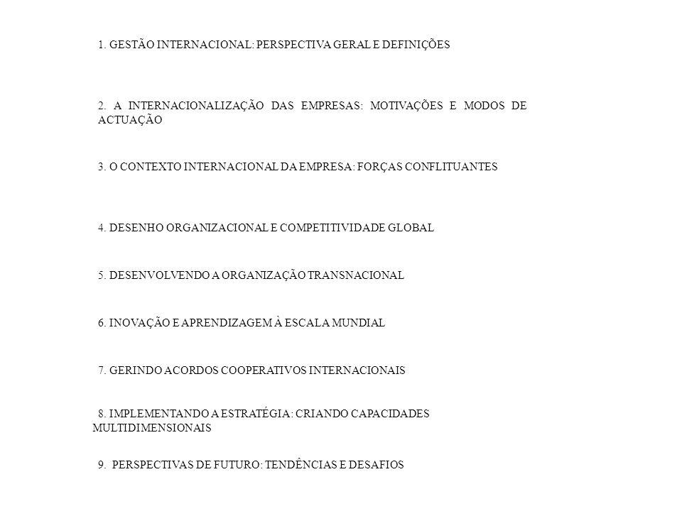 1. GESTÃO INTERNACIONAL: PERSPECTIVA GERAL E DEFINIÇÕES 2. A INTERNACIONALIZAÇÃO DAS EMPRESAS: MOTIVAÇÕES E MODOS DE ACTUAÇÃO 3. O CONTEXTO INTERNACIO