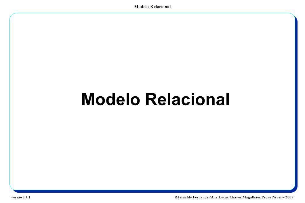 Modelo Relacional ©Jesualdo Fernandes/Ana Lucas/Chaves Magalhães/Pedro Neves – 2007versão 2.4.1 Modelo Relacional