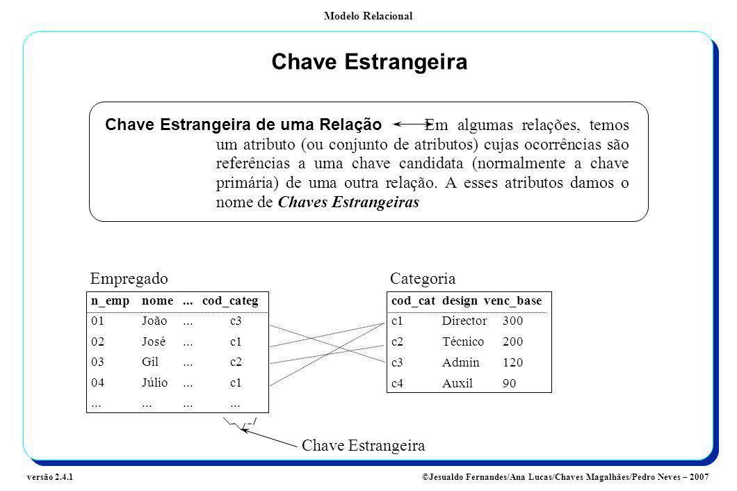 Modelo Relacional ©Jesualdo Fernandes/Ana Lucas/Chaves Magalhães/Pedro Neves – 2007versão 2.4.1 Chave Estrangeira Chave Estrangeira de uma Relação Em