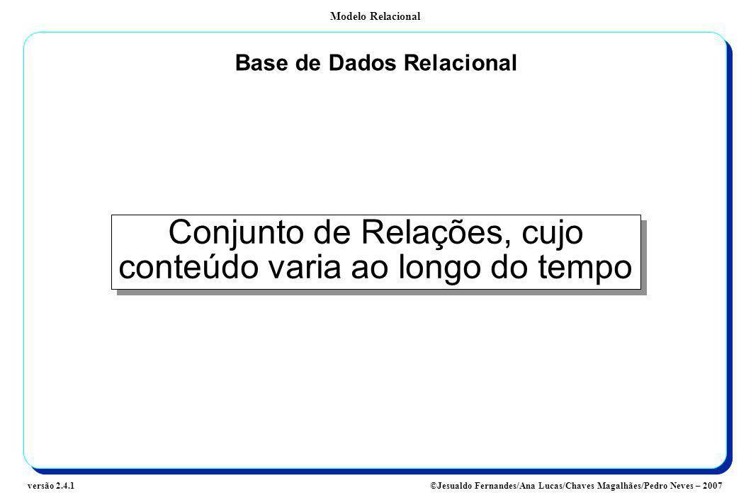 Modelo Relacional ©Jesualdo Fernandes/Ana Lucas/Chaves Magalhães/Pedro Neves – 2007versão 2.4.1 Base de Dados Relacional Conjunto de Relações, cujo co