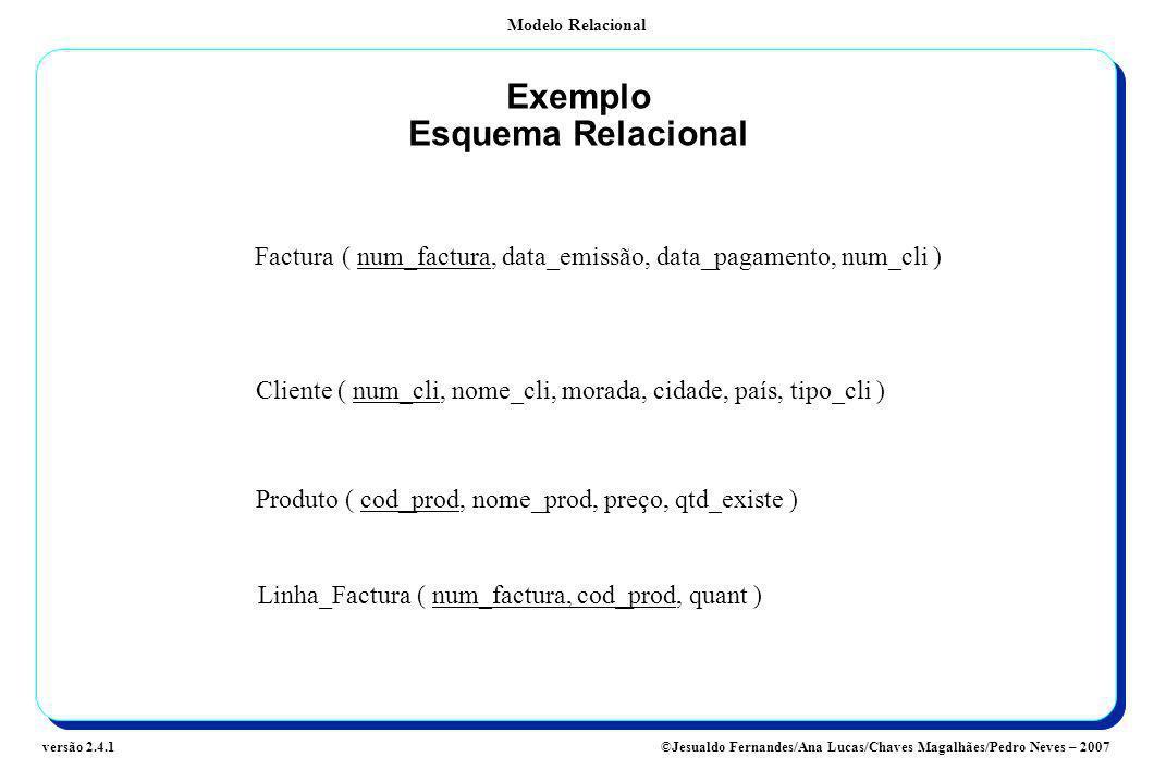 Modelo Relacional ©Jesualdo Fernandes/Ana Lucas/Chaves Magalhães/Pedro Neves – 2007versão 2.4.1 Exemplo Esquema Relacional Factura( num_factura, data_