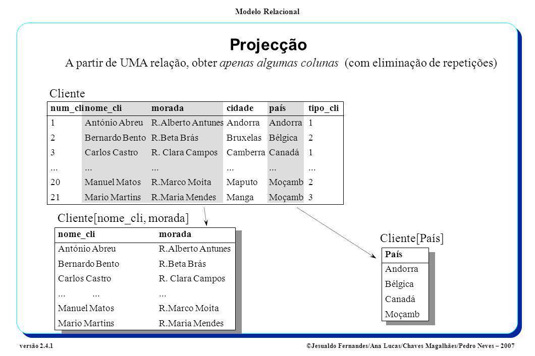 Modelo Relacional ©Jesualdo Fernandes/Ana Lucas/Chaves Magalhães/Pedro Neves – 2007versão 2.4.1 Projecção A partir de UMA relação, obter apenas alguma