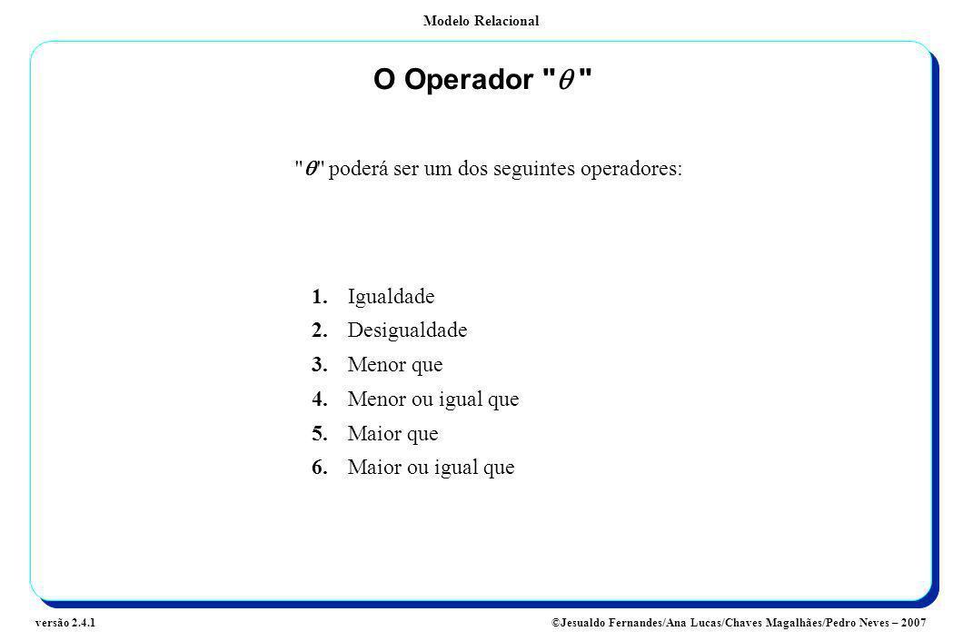 Modelo Relacional ©Jesualdo Fernandes/Ana Lucas/Chaves Magalhães/Pedro Neves – 2007versão 2.4.1 O Operador