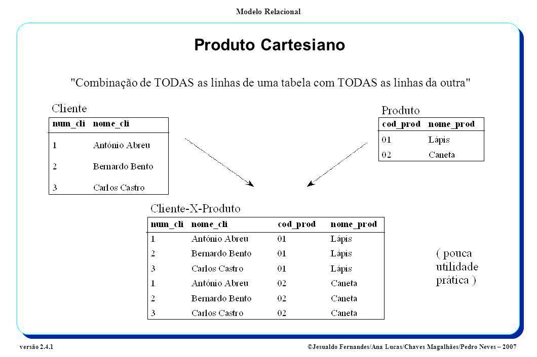Modelo Relacional ©Jesualdo Fernandes/Ana Lucas/Chaves Magalhães/Pedro Neves – 2007versão 2.4.1 Produto Cartesiano