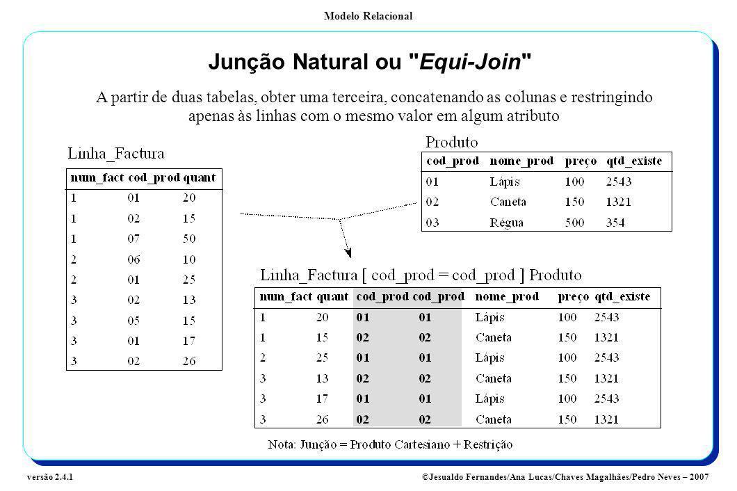 Modelo Relacional ©Jesualdo Fernandes/Ana Lucas/Chaves Magalhães/Pedro Neves – 2007versão 2.4.1 Junção Natural ou