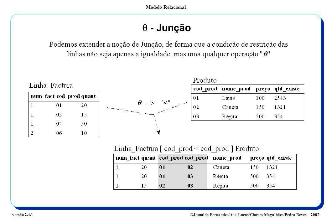 Modelo Relacional ©Jesualdo Fernandes/Ana Lucas/Chaves Magalhães/Pedro Neves – 2007versão 2.4.1 - Junção Podemos extender a noção de Junção, de forma