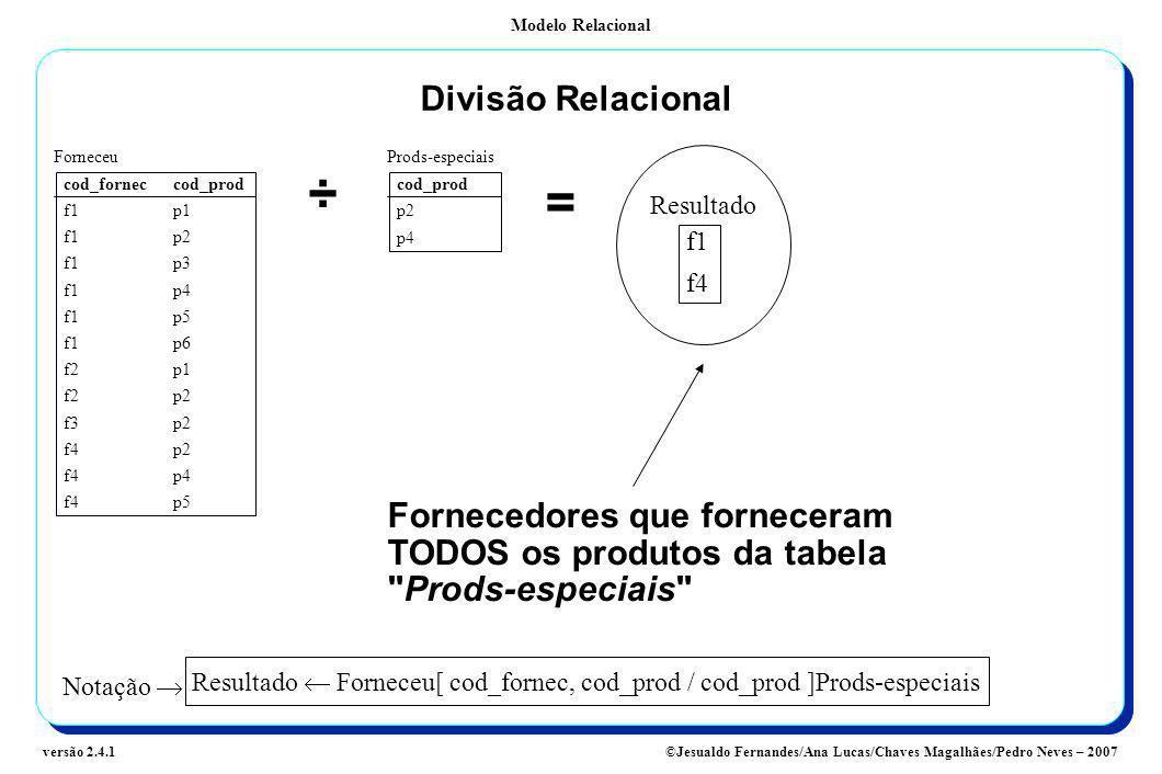 Modelo Relacional ©Jesualdo Fernandes/Ana Lucas/Chaves Magalhães/Pedro Neves – 2007versão 2.4.1 Divisão Relacional cod_forneccod_prod f1p1 f1p2 f1p3 f